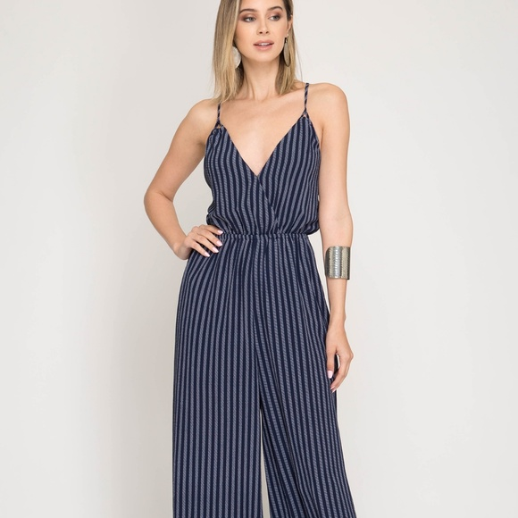 Felicias Pants New Navy Blue Striped Jumpsuit Poshmark